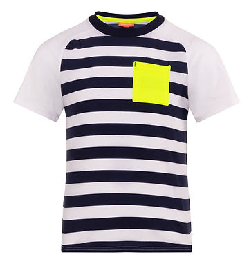 Sunuva Boys Wide Blue Stripe and Neon Short Sleeve Rash Vest