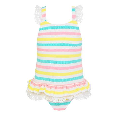 Sunuva Baby Girls Multi Stripe Broderie Swimsuit