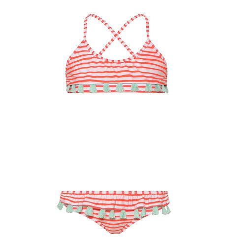 Sunuva Girls Neon Coral Stripe Tassel Frill Bikini
