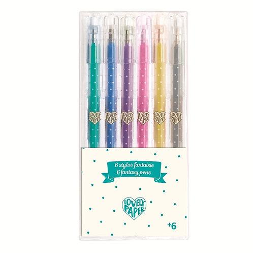 Djeco Lovely Paper 6 glitter pens