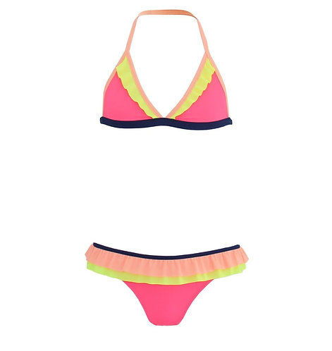 Sunuva Girls Hot Pink Colour Block Bikini