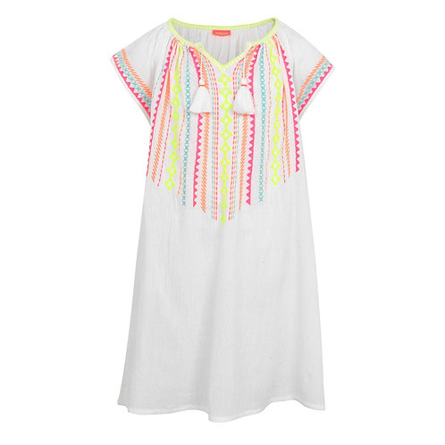 Sunuva Girls White Embroidered Cheesecloth Dress