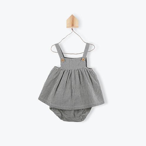 Arsène et les Pipelettes Baby Dress Gingham Dark Grey