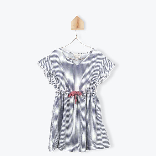 Arsène et les Pipelettes Girl Dress Grey Lurex Striped