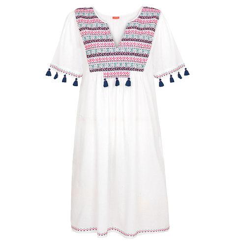Sunuva Womens White Embroidered Boho Dress