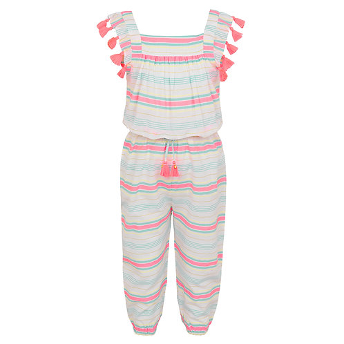 Sunuva Girls Multi Stripe Flutter Sleeve Jumpsuit