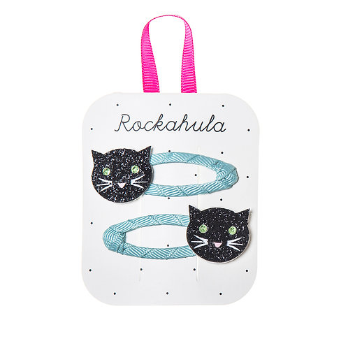 Rockahula Sparkly Black Cat Glitter Clips