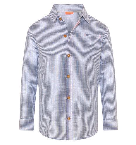 Sunuva Boys Blue Stripe Long Sleeve Cotton Shirt