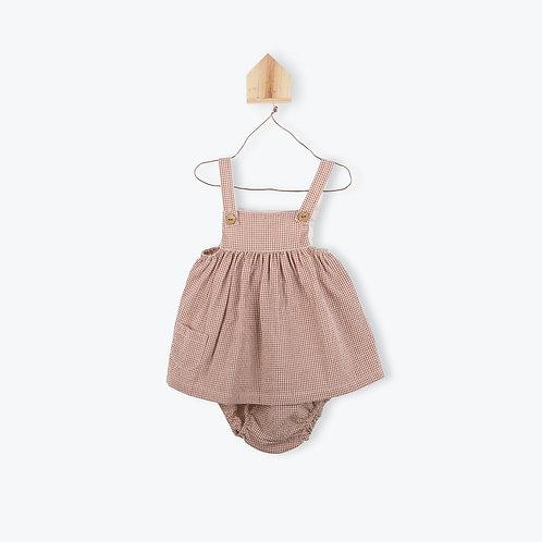 Arsène et les Pipelettes Baby Dress Gingham Terracotta