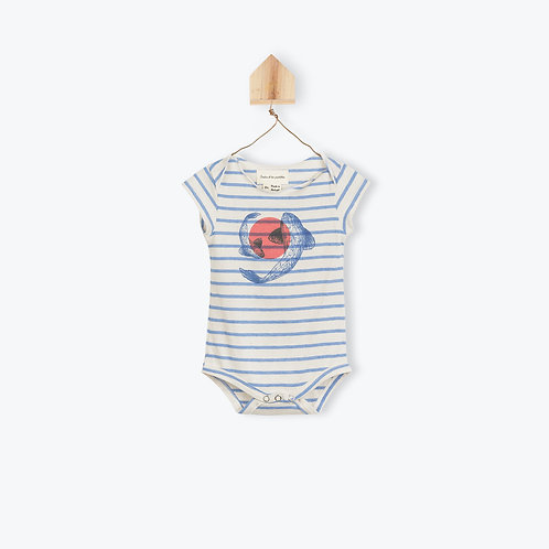 Arsène et les Pipelettes Baby Vest Blue Striped