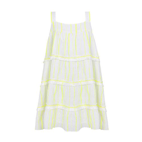 Sunuva Girls Neon Yellow Stripe Fringed Tier Dress