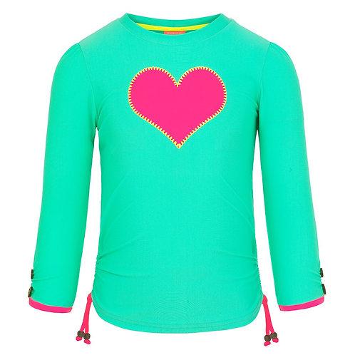 Sunuva Girls Green Mint Heart Long Sleeve Rash Vest