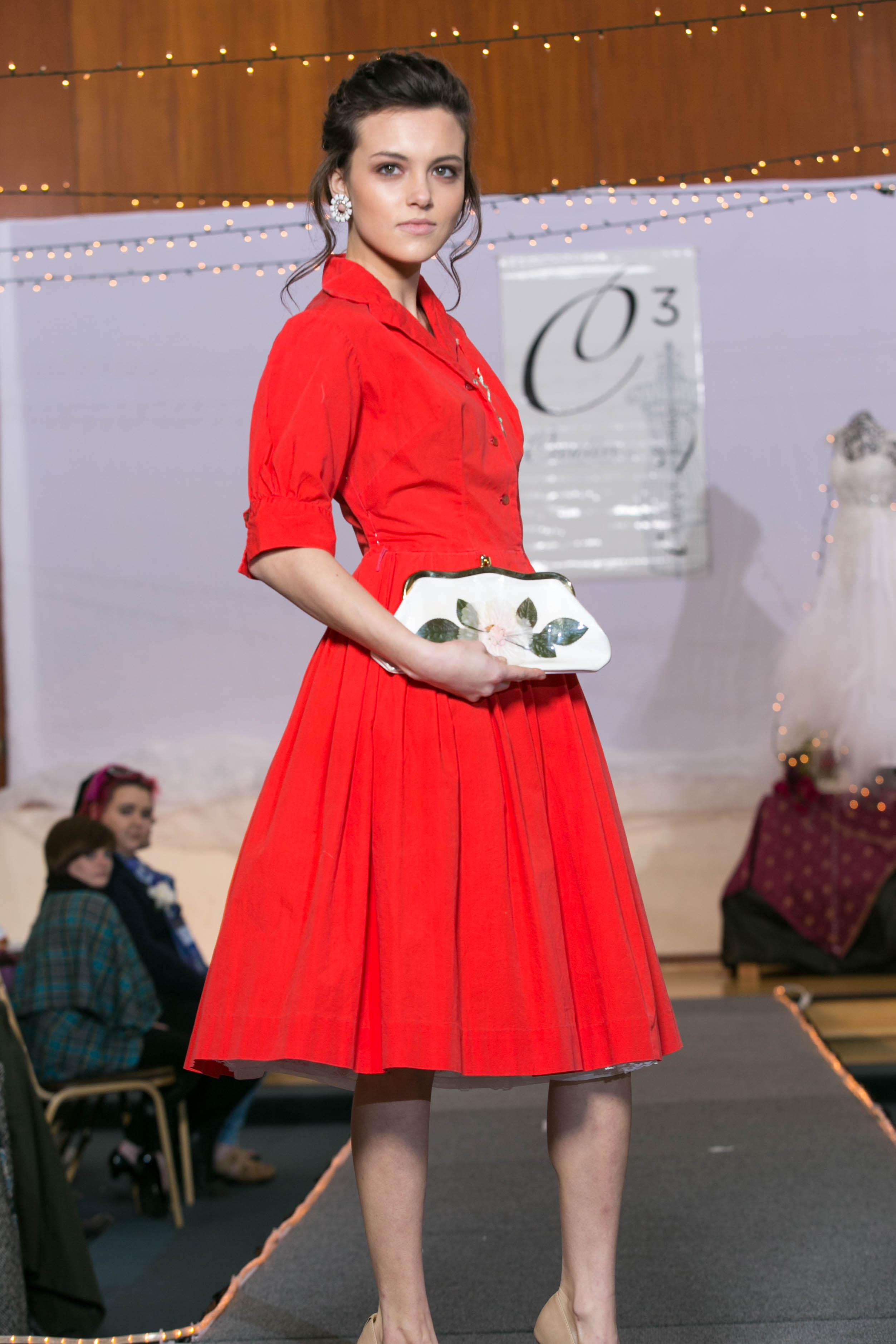 50s rockabilly red dress flower bag