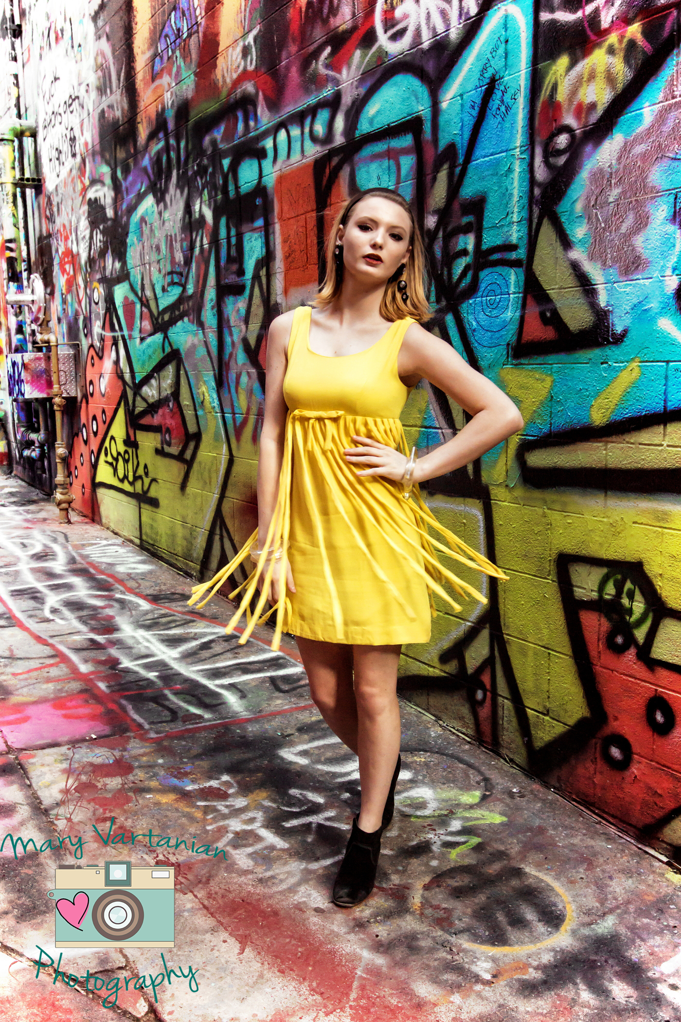 yellow fringe dress motion