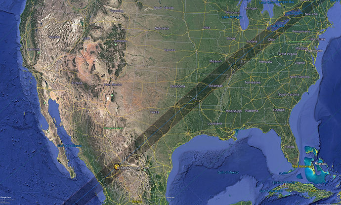 Track Map Mexico/USA Total Solar Eclipse