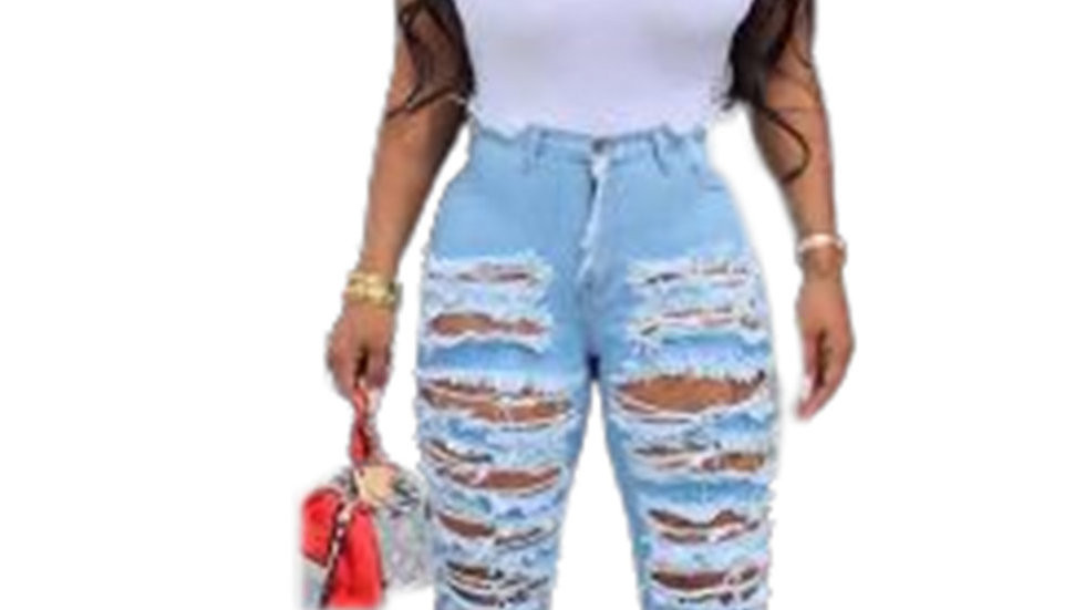 Light Blue Distressed Ripped Flared Jeans