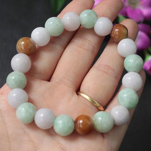 Candy Colored, Light Green-Lavender-Red Jadeite Jade Round Beaded Bracelet