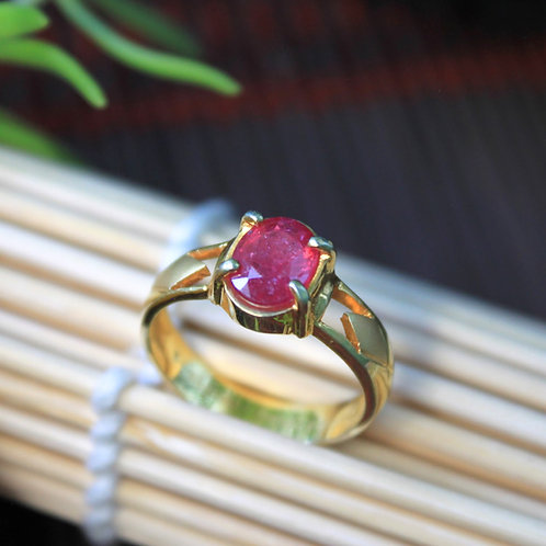 1.6 ct. Pinkish-Red African Ruby Gemstone Ring (Heated), Set in 92.5% Silver