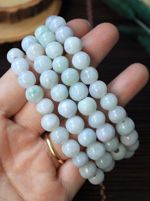 Light White Jadeite Bead Set, 8 mm. White Jadeite Jade (Grade A) Round Beads