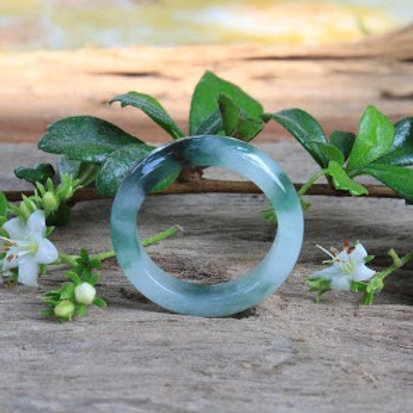 Dragon Scale Ring, Natural Translucent with Dark Green Jadeite Jade (Grade A)