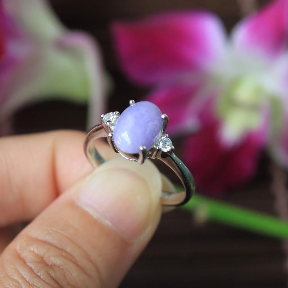 Lavender, Rare Natural Jadeite Jade (Grade A) Set in 925% Silver