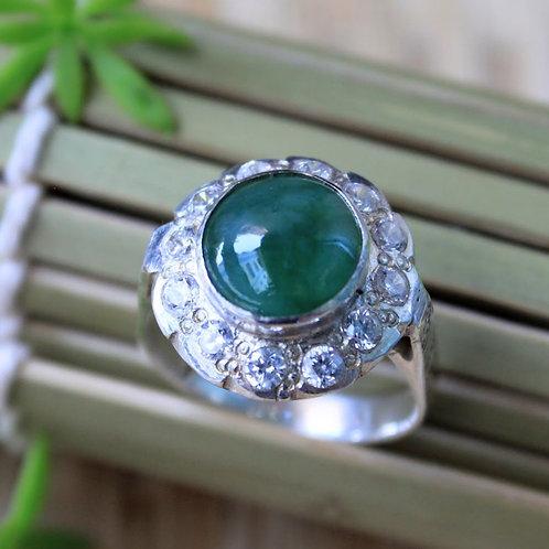 Perfect-Green Jadeite Jade (Grade A) and Topaz Gemstones Set in a 92.5% Silver