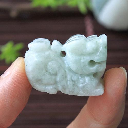 Hand Carved, Light Green Jadeite Jade (Grade A) Pi-Xiu Dragon Pendant