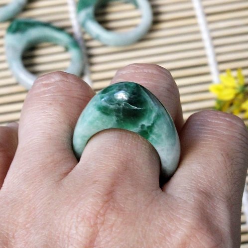 Natural Looking, Apple/Dark Green Jadeite Jade (Grade A) Hand Carved Saddle Ring