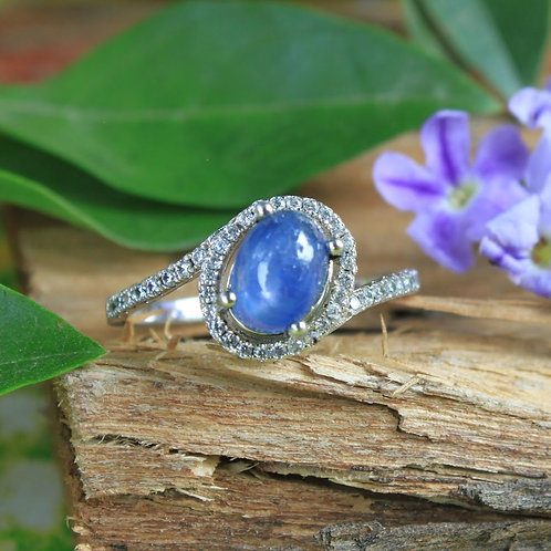 Gorgeous Blue Sapphire Ring with White Topaz Accent Gemstones