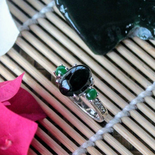Connotations, 3 Stone, Imperial Translucent Black Omphacite and Green Jadeite