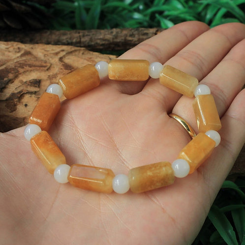 Stunning Semi-Translucent, Honey-Yellow, Jadeite Jade (Grade A) Rectangular Bead