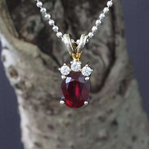 Large Pigeon Blood Red, Burmese Ruby (Heated) Pendant with White Sapphire Accent