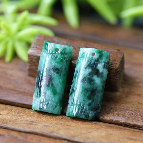 Asian Styled, Multi-Colored, Jadeite Jade (Grade A), Hand Carved into Bamboo