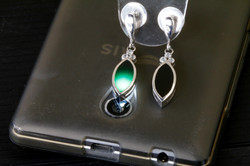 Marquise Cut, Imperial Translucent Black Omphacite Jadeite Jade Earrings Set in a 92.5 Silver plated