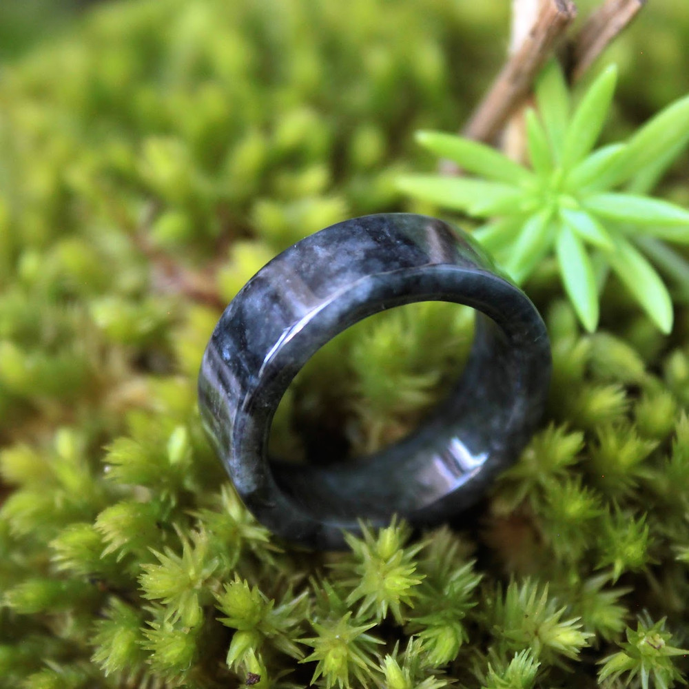 Black Chicken Skin Jadeite Jade (Grade A) Hand Carved Ring, Size 7 3/4 US