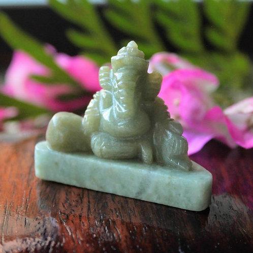 Lord Ganesha, Hand Carved, Light Yellow-Green Jadeite Jade (Grade A)