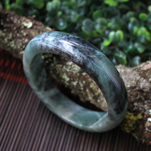 63 mm. Jadeite Jade (Grade A) Hand Carved Bangle, Round. Dark Green Jadeite