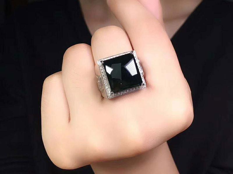 Imperial Translucent Black Omphacite Jadeite Jade