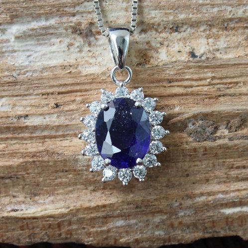 Gorgeous Australian Blue Sapphire Pendant with White Topaz Accent Stones