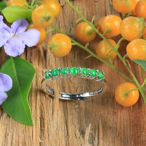 High Quality, Apple-Green Jadeite Jade (Grade A) Adjustable Ring Set 92.5 Silver