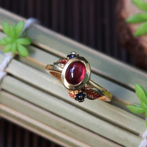 Stunning African Ruby (Heated) Thai Styled Ring, 92.5 Silver with 18K