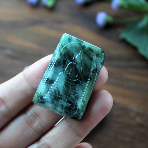 Natural Green Jadeite Jade (Grade A) Carved into Thai Traditional Phra Somdej