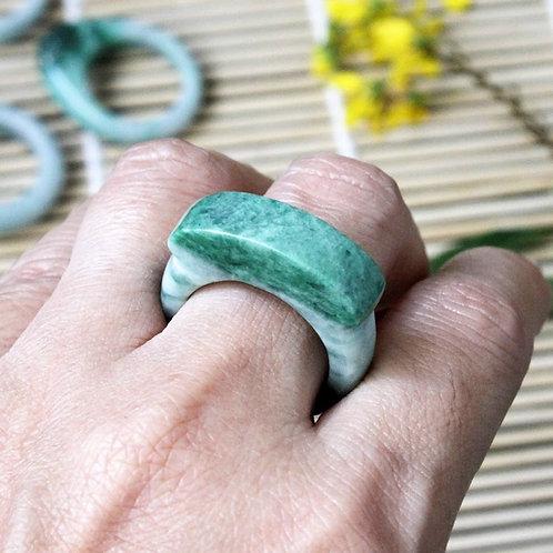 Splendid Apple, Apple Green Jadeite Jade (Grade A) Hand Carved Saddle Ring