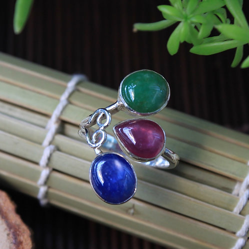 The Tri Stone Ring, Multi Sized 3 Stone Ring, Green Jadeite, Red Ruby