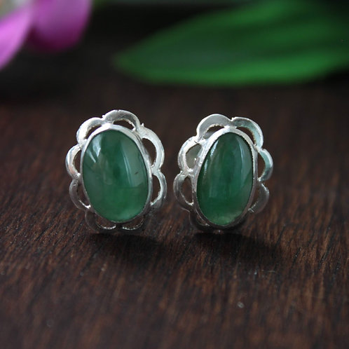 Stunning Traditional-Green Jadeite Jade Grade A, Studded Earrings Set in 92.5