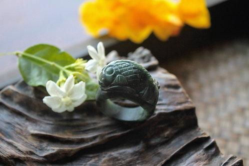 Hand Carved Koi Fish Ring, Dark Greenish Black Jadeite Jade (Grade A)