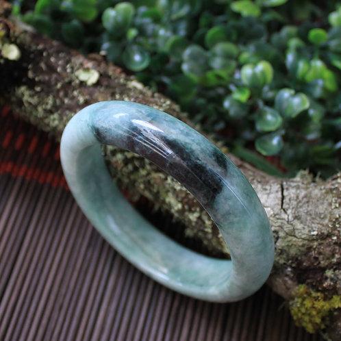 57 mm. Jadeite Jade Bangle (Grade A) Dark Black-Green Vein on a Light-Green Body
