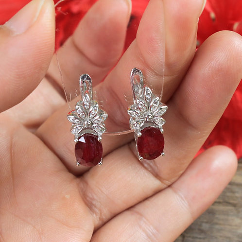 Stunning Pigeon Blood Red African Ruby (Heated) Earrings with White Topaz Accent
