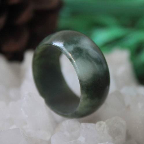 Spectacular Green! Dark Green with White Spot Jadeite Jade (Grade A) Hand Carved