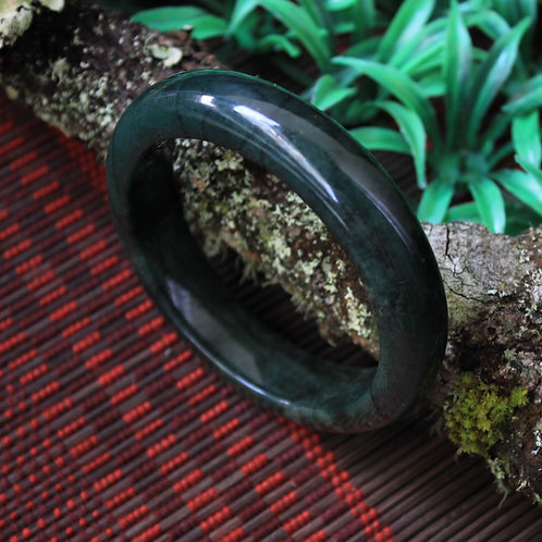 63 mm. Extremely Dark Green-Black Jadeite Jade (Grade A) Hand Carved Bangle